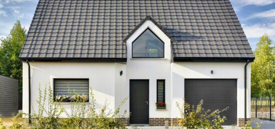Maison moderne à étage en enduit et briques de 116 m² à Dainville (62).
