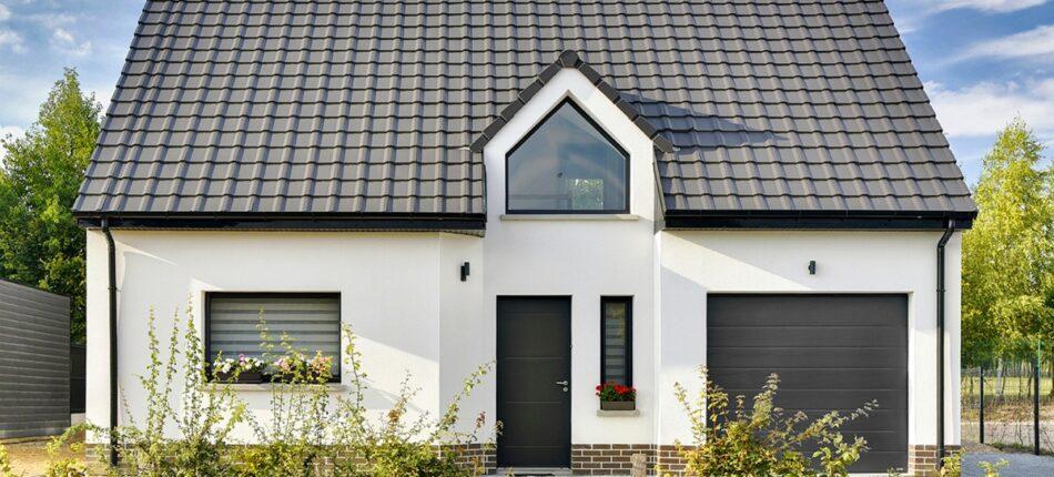 Maison moderne à étage en enduit et briques de 116 m² à Dainville (62).  - maison moderne dainville