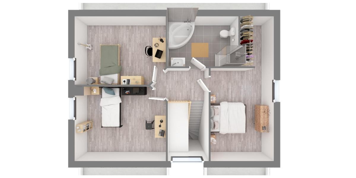 etage plan maison moderne