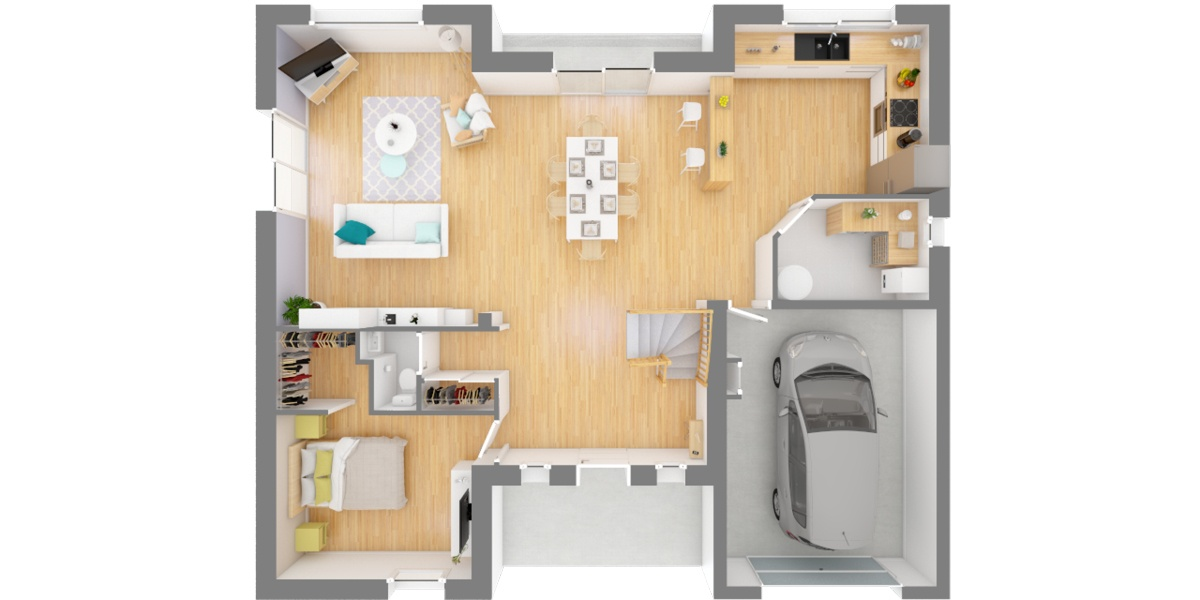 rdc maison moderne à étage