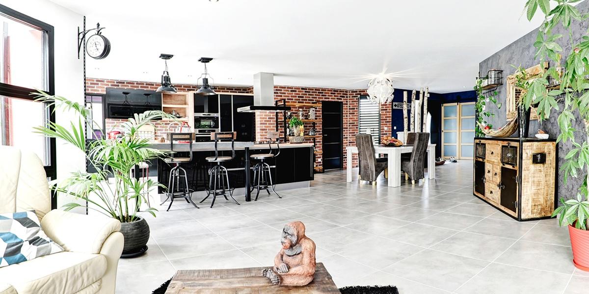 plain pied intérieur cuisine