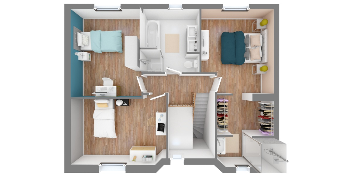 plan étage maison 4 pans