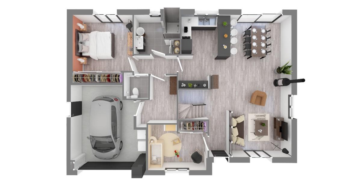 plan maison étage lonrai