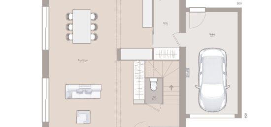 Plan de maison Surface terrain 90 m2 - 4 pièces - 3  chambres -  avec garage