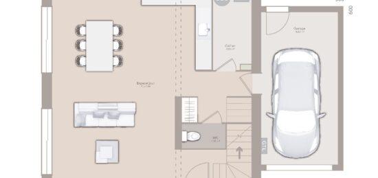 Plan de maison Surface terrain 80 m2 - 3 pièces - 2  chambres -  avec garage