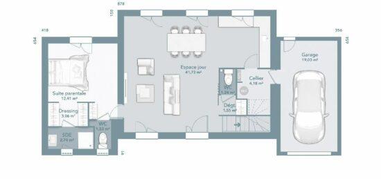 Plan de maison Surface terrain 95 m2 - 5 pièces - 4  chambres -  avec garage