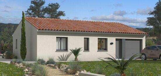 Plan de maison Surface terrain 75 m2 - 4 pièces - 3  chambres -  avec garage