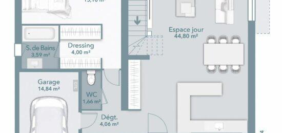 Plan de maison Surface terrain 116 m2 - 5 pièces - 4  chambres -  avec garage