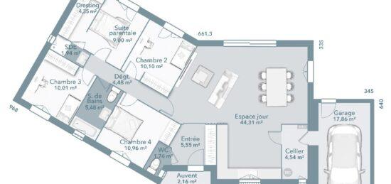 Plan de maison Surface terrain 112 m2 - 4 pièces - 4  chambres -  avec garage