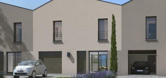 Plan de maison Surface terrain 105 m2 - 4 pièces - 3  chambres -  avec garage