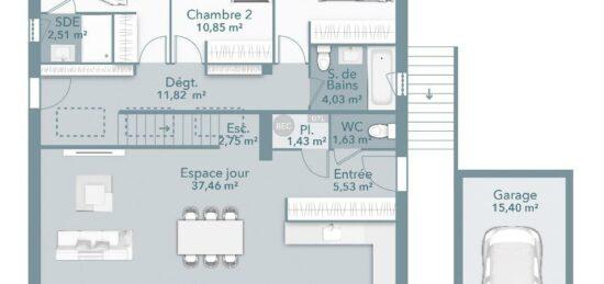 Plan de maison Surface terrain 100 m2 - 4 pièces - 3  chambres -  avec garage