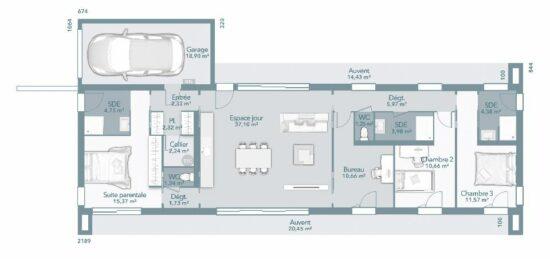 Plan de maison Surface terrain 115 m2 - 5 pièces - 4  chambres -  avec garage
