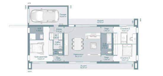 Plan de maison Surface terrain 95 m2 - 4 pièces - 3  chambres -  avec garage
