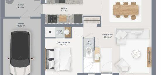 Plan de maison Surface terrain 105 m2 - 6 pièces - 4  chambres -  avec garage