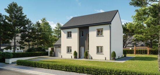 Plan de maison Surface terrain 100 m2 - 6 pièces - 4  chambres -  avec garage