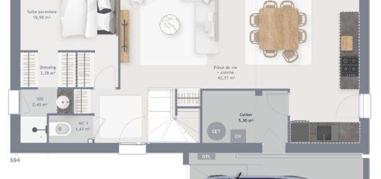 Plan de maison Surface terrain 115 m2 - 6 pièces - 4  chambres -  avec garage