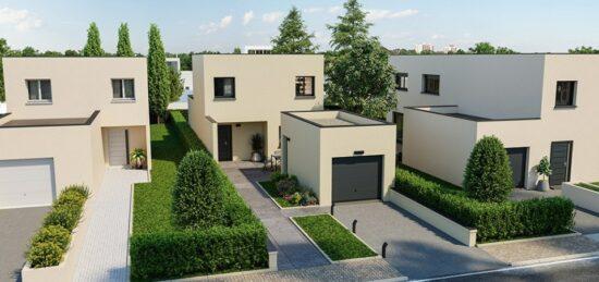 Plan de maison Surface terrain 100 m2 - 6 pièces - 3  chambres -  avec garage