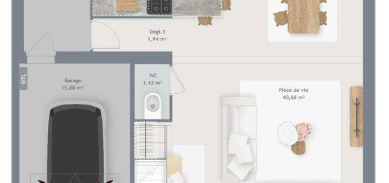 Plan de maison Surface terrain 100 m2 - 5 pièces - 4  chambres -  avec garage