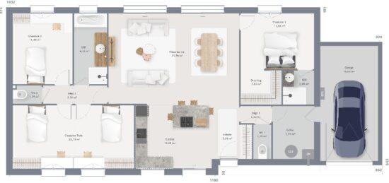 Plan de maison Surface terrain 120 m2 - 5 pièces - 4  chambres -  avec garage