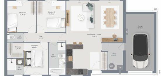 Plan de maison Surface terrain 90 m2 - 5 pièces - 3  chambres -  avec garage