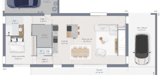 Plan de maison Surface terrain 160 m2 - 8 pièces - 5  chambres -  avec garage