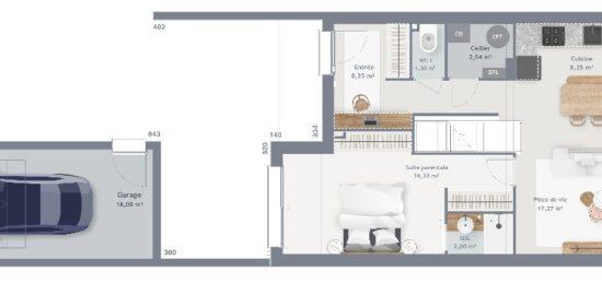 Plan de maison Surface terrain 90 m2 - 6 pièces - 3  chambres -  avec garage