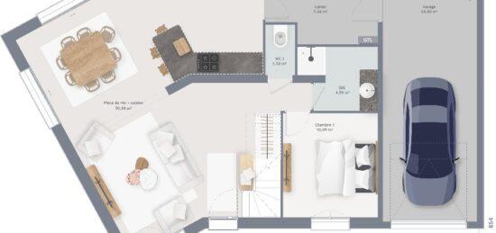 Plan de maison Surface terrain 110 m2 - 7 pièces - 4  chambres -  avec garage