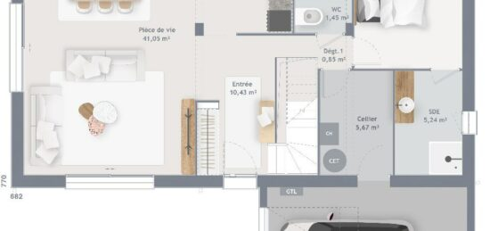 Plan de maison Surface terrain 125 m2 - 6 pièces - 4  chambres -  avec garage