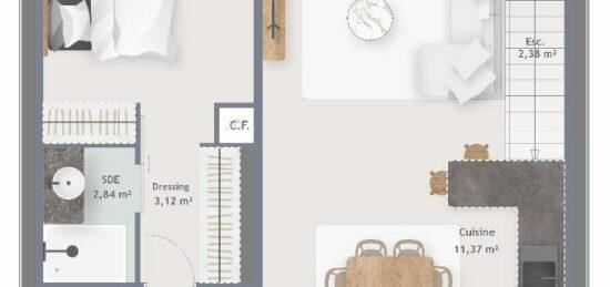 Plan de maison Surface terrain 122 m2 - 6 pièces - 4  chambres -  sans garage