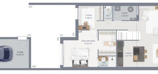 Plan de maison Surface terrain 110 m2 - 6 pièces - 4  chambres -  avec garage